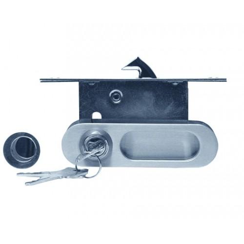 замок для раздв. дверей  A-К01/02-V1НН (фиксатор/ключ) никель