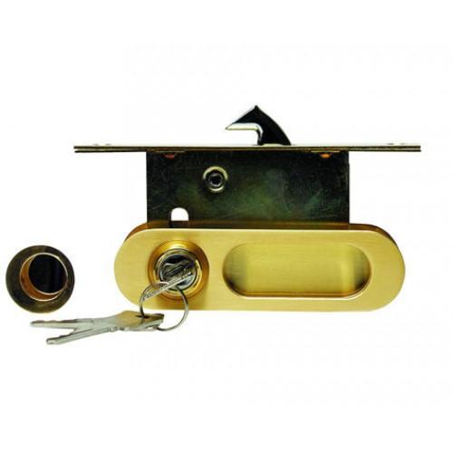 замок для раздв. дверей A-К01/02-V1II (фиксатор/ключ) матовое золото