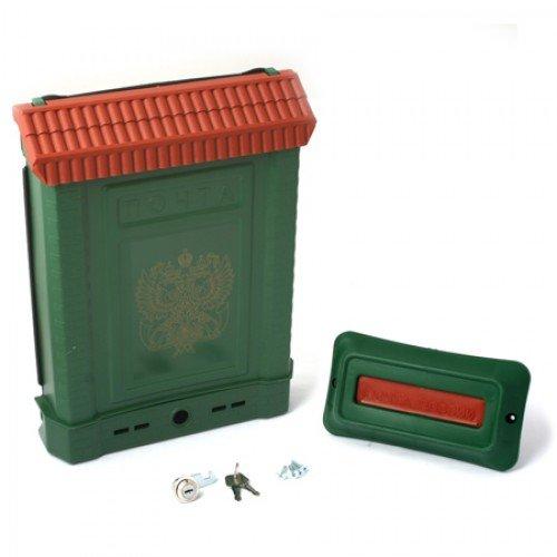 Ящик почтовый ПРЕМИУМ с пл. защелкой и накладкой (зеленый, герб)