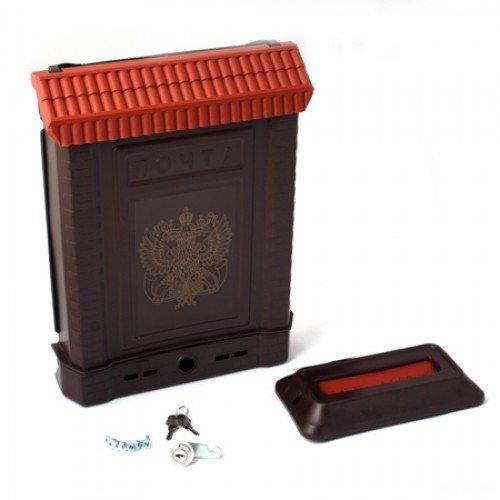 Ящик почтовый ПРЕМИУМ с пл. защелкой и накладкой (коричневый, с орлом)