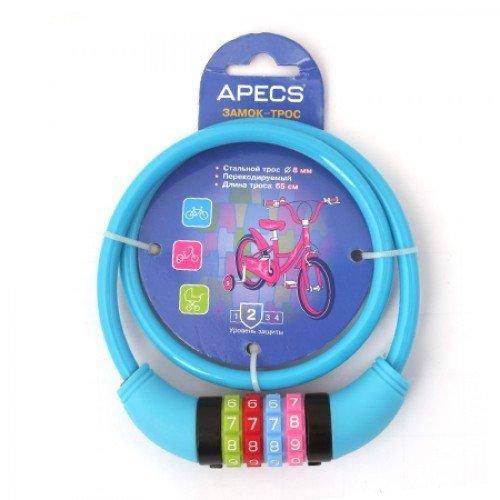 Замок велосипедный Apecs PD-82-65CM-CODE-BLUE